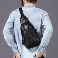 胸包男士休闲单肩包韩版运动背包防水软皮腰包潮流斜挎包男生包包 黑色