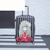 行李箱万向轮旅行箱小清新女拖箱学生潮密码箱20寸24寸拉杆箱 红裙子美女 20寸