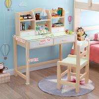 实木学习桌家用写字台桌椅套装简约书桌小学生课桌椅 A款绿色:80桌椅一套 长80*宽50*高75