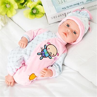 儿童仿真娃娃婴儿宝宝软硅搪胶洋智能娃娃会说话的布娃娃公主玩具  无声版 (陪睡娃娃)