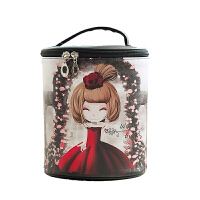 韩国手提防水化妆包护肤品收纳盒可爱圆筒便携多功能大小容量桶包