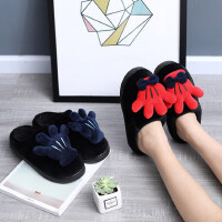 家居棉拖鞋女韩版可爱包跟居家用防滑厚底室内情侣拖鞋