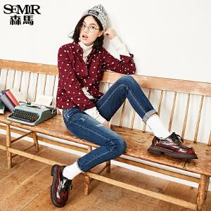 森马水洗牛仔裤 冬装 女士中低腰弹力小直筒牛仔长裤韩版