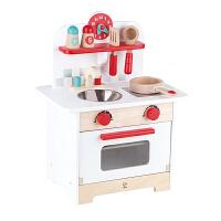 Hape复古红白小厨房3-6岁婴幼玩具过家家木制玩具情景模拟