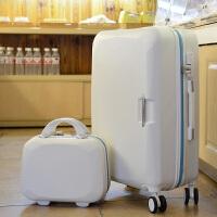 学生拉杆箱万向轮旅行箱女行李箱子母箱硬箱密码箱登机20寸24寸26 米白色 子母款