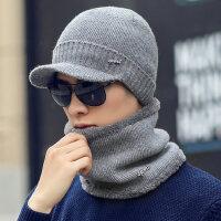 中老年加绒加厚保暖护耳毛线帽男士帽子男韩版针织鸭舌帽