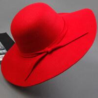 百搭帽子圆顶英伦复古礼帽黑色仿羊毛毛呢大檐帽女