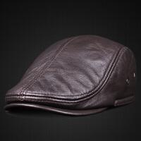 真皮帽子秋冬季男士头层牛皮前进帽中老年加厚保暖夹棉护耳鸭舌帽