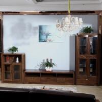 全实木酒柜客厅柜隔断柜现代简约中式实木电视柜胡桃木展示柜组合