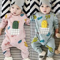 秋季婴儿连体衣男女宝宝爬服柔软包屁衣新生儿衣服0-1岁外出哈衣