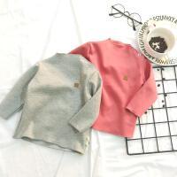 霓婴坊 冬季婴幼儿宝宝时尚高领肩扣保暖内衣加绒打底衫0-5岁冬款