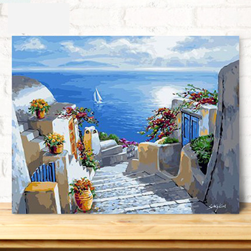 菲绣diy数字油画 大幅客厅卧室海边风景手绘装饰画 手工画 面朝大海