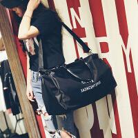 新款时尚旅行包女手提包大容量行李包长短途轻便旅游包健身包大包shq 黑色 大