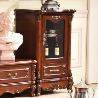 欧式酒柜电视柜组合实木单门客厅柜美式小玻璃柜复古原木矮酒柜 单门