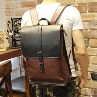 双肩包男韩版户外旅行背包男士背包大容量潮学生书包皮休闲新 图片色