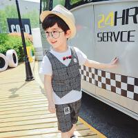 童装男童套装2018夏季新款儿童格子假三件套韩版小宝宝两件套 灰色