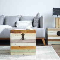 北欧卧室杉木箱复古储物箱做旧可作床头柜子沙发边几桌子客厅茶几