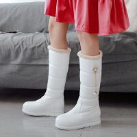 韩版秋冬女孩高筒靴水钻花朵白色公主长靴厚大童雪地靴童鞋