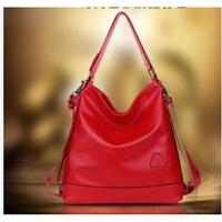 女士背包夏季新款两用尼龙女包韩版休闲旅行大包水桶包单肩双肩包 红色 pu皮红色四用包