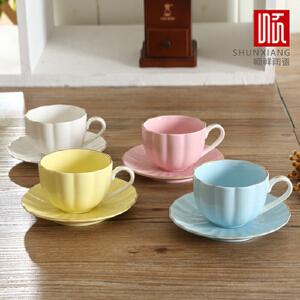 W顺祥缤纷浮雕咖啡杯碟4件套(荷口)