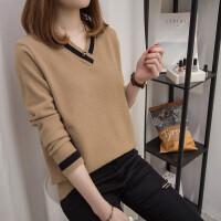 毛衣厚女冬宽松短款韩版套头学生v领针织衫打底衫新款时尚潮