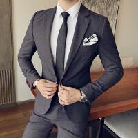 绅士英伦韩版修身西服套装男士两件套纯色西装