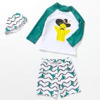 儿童泳衣男童分体防晒男孩宝宝冲浪游泳衣泳装2-12岁三件套 绿色