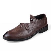 时尚潮男鞋低帮鳄鱼纹皮鞋日常商务鞋男士正装鞋简约系带青年复古鞋透气休闲鞋纯色发型师鞋