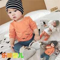 春秋婴儿长袖上衣新生男女宝宝T恤衫套头纯色弹力卡通0-1-2岁衣服
