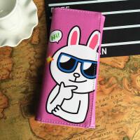 新款女士长款钱包日韩小清新个性学生女式皮夹可爱卡通动漫手拿包 墨镜兔+卡包