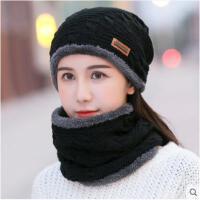 男韩版休闲百搭针织帽子女冬天户外加厚加绒保暖毛线帽围脖套