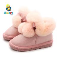 【2.5折价:87.5】芭芭鸭儿童雪地靴2019冬季新款短靴女童雪地棉靴子冬鞋加绒毛毛鞋