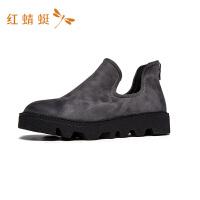 红蜻蜓女鞋休闲韩版透气时尚简约中帮套脚防滑潮流纯色休闲鞋
