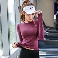 �\�由弦屡���力�o身透�怙@瘦休�e健身瑜伽服跑步速干秋冬�L袖T恤