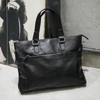 新款皮男包手提包男士单肩斜挎包包电脑包横款商务公文包男韩版 黑色