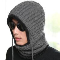 帽子男保暖针织毛线帽加厚加绒围巾一体护耳防风百搭骑行连体帽