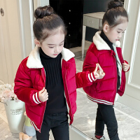 儿童冬装小女孩加厚金丝绒棉袄洋气羽绒女童棉衣短款