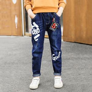 乌龟先森 儿童牛仔裤 男童牛仔棉带装饰品字母印花运动裤秋季韩版新款时尚休闲中大童款式裤子