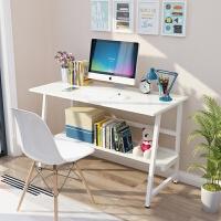 简易电脑桌书架组合书桌学习桌家用简约现代台式桌子办公桌写字台 1.2米【象牙白色桌面+白色桌腿】 品质保证