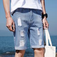 2018夏季潮五分裤破洞牛仔时尚百搭个性流行青春牛仔裤大码短款男