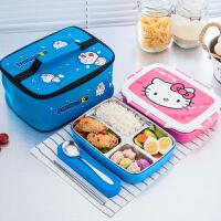 304不锈钢小学生饭盒儿童卡通保温饭盒便当盒分格微波炉可爱餐盘