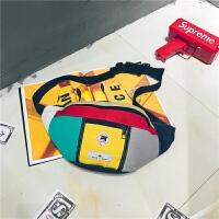 街头潮流腰包男女嘻哈休闲个性单肩骑行包时尚旅游斜挎小背包胸包 黄色 收藏送运费险