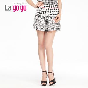 lagogo拉谷谷夏季新款复古抽象图案时尚半裙