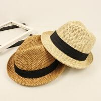 休闲手工软礼帽春夏季男女度假爵士帽海边出游沙滩帽可折叠草帽子