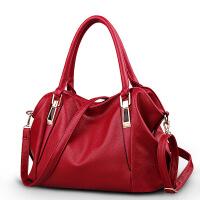 真皮女包大包包新款简约气质女士手提包软皮单肩斜挎包 酒红色 送手拿包