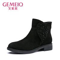 【到手109】【真皮】戈美其冬季新款骑士靴优雅长筒靴细跟吊坠圆头高跟鞋加绒女靴