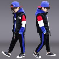 儿童洋气男孩帅气衣服运动三件套潮童装男童冬装套装