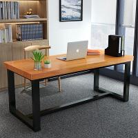 实木电脑桌简约现代铁艺办公桌家用台式书桌会议桌复古写字桌子台 200*80*77厚度7.5cm