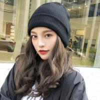 女士产后保暖月子帽 新款针织冷帽 韩版时尚毛线帽 百搭潮羊毛混纺堆堆帽