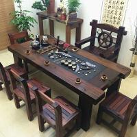 老船木茶桌椅组合中式实木家具功夫泡茶台茶几阳台简约办公茶艺桌 200单桌 整装